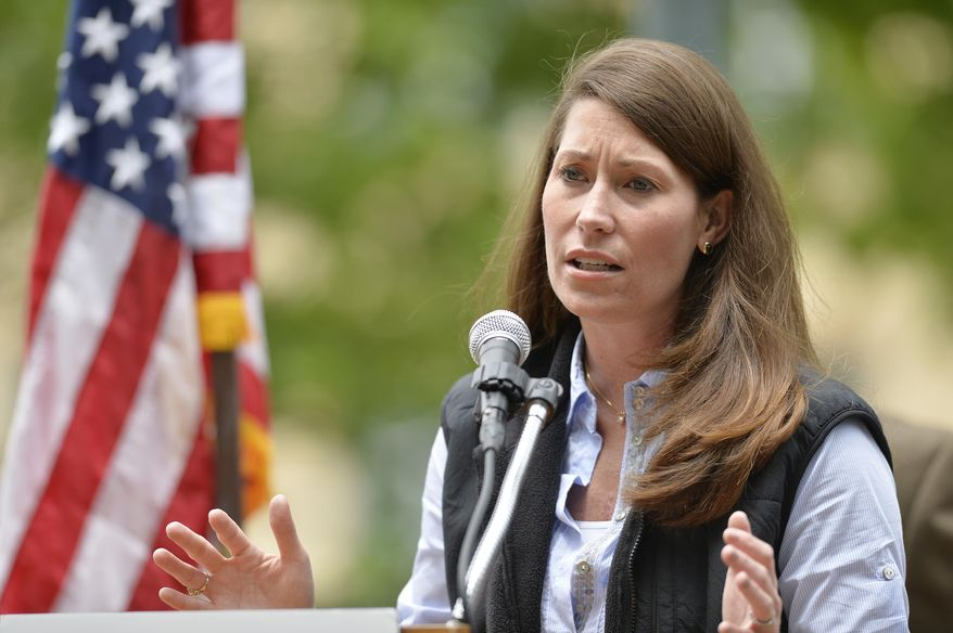 ** FILE ** This May 17, 2014, file photo shows Kentucky Democratic Senate candidate Alison Lundergan Grimes speaking in Franklin, Ky. (AP Photo/Timothy D. Easley, File)