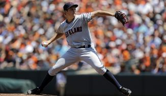 Cleveland Indians starting pitcher Trevor Bauer throws to the Baltimore Orioles in the first inning of a baseball game on Sunday, May 25, 2014, in Baltimore. (AP Photo/Patrick Semansky)