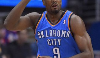 File-This May 11, 2014, file photo shows Oklahoma City Thunder forward Serge Ibaka, of Congo, gesturing after hitting a three-point shot in the first half of Game 4 of the Western Conference semifinal NBA basketball playoff series against the Los Angeles Clippers in Los Angeles. Ibaka could play against  San Antonio in Game 3 of the Western Conference finals after taking part in the team's shootaround. (AP Photo/Mark J. Terrill, File)
