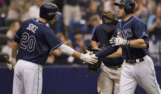 Tampa Bay Rays' Matt Joyce, left, congratulates Evan Longoria, right, after his solo home run off Boston Red Sox starter Brandon Workman during the fourth inning of a baseball game Sunday, May 25, 2014 in St. Petersburg, Fla. (AP Photo/Steve Nesius)