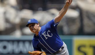 Kansas City Royals starting pitcher Jason Vargas throws against the Los Angeles Angels in the fist inning of a baseball game on Sunday, May 25, 2014, in Anaheim, Calif. (AP Photo/Alex Gallardo)