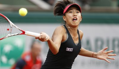 China's Zhang Shuai returns the ball to Poland's Agnieszka Radwanska during the first round match of  the French Open tennis tournament at the Roland Garros stadium, in Paris, France, Sunday, May 25, 2014. (AP Photo/Darko Vojinovic)