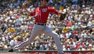 Washington Nationals starting pitcher Doug Fister delivers during the first inning of a baseball game against the Pittsburgh Pirates in Pittsburgh, Sunday, May 25, 2014. (AP Photo/Gene J. Puskar)