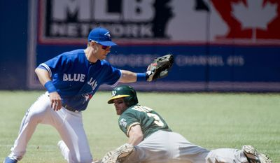 Toronto Blue Jays second baseman Steve Tolleson, left, is late on the tag after Oakland Athletics' Craig Gentry (3) steals second base during the third inning of a baseball game in Toronto on Sunday, May 25, 2014. (AP Photo/The Canadian Press, Nathan Denette)
