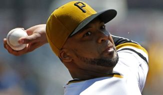 Pittsburgh Pirates starting pitcher Francisco Liriano delivers during the first inning of a baseball game against the Washington Nationals in Pittsburgh Sunday, May 25, 2014. (AP Photo/Gene J. Puskar)