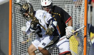 Notre Dame's John Scioscia looks to shoot as Maryland goalie Nick Amato defends in the second half of an NCAA semi-final lacrosse game Saturday, May 24, 2014, in Baltimore. Notre Dame won 11-6. (AP Photo/Gail Burton)