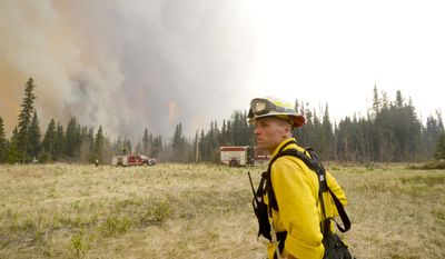Brad Nelson, health and safety officer for the Kenai Peninsula Borough, watches as Central Emergency Services firefighting crew assess a property directly in the path of the 156,000 acre Funny River Horse Trail wildfire Sunday May 25, 2014 in Soldotna, Alaska. (AP Photo/Peninsula Clarion, Rashah McChesney)