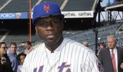 Rapper 50 Cent poses for photographs before the New York Mets' baseball game against the Pittsburgh Pirates on Tuesday, May 27, 2014, in New York.  (AP Photo/Frank Franlkin II) ** FILE **