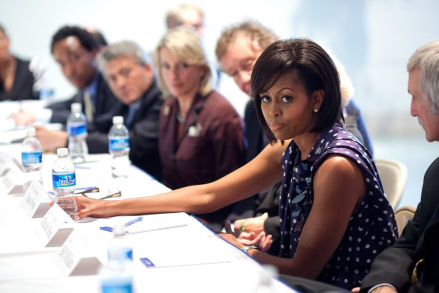 First Lady Michelle Obama attends a meeting with Communities In Schools board members at the Ferebee-Hope Elementary School in Washington, D.C., May 13, 2009. (Official White House Photo by Samantha Appleton)