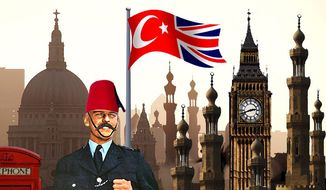 Illustration on Londonistan by Alexander Hunter/The Washington Times