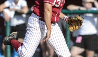 Alabama's Jaclyn Traina (33) pitches against Nebraska during an NCAA softball tournament super regional, Friday, May 23, 2014, in Tuscaloosa, Ala. (AP Photo/AL.com, Vasha Hunt) MAGS OUT