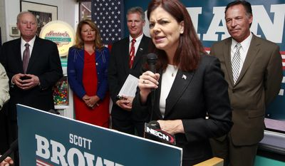 Former New Hampshire Governors Steve Merrill, far left, and Craig Benson, far right, listens as U.S. Sen. Kelly Ayotte, R-N.H. endorses Republican U.S. Senate candidate Scott Brown, standing with his wife Gail, Tuesday, May 27, 2014 in Nashua, N.H. Brown faces former U.S. Sen. Bob Smith, former state Sen. Jim Rubens and conservative activist Karen Testerman, in the GOP primary. (AP Photo/Jim Cole)