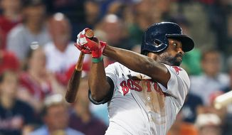 Boston Red Sox's Jackie Bradley Jr. drives in two runs with a double in the seventh inning of a baseball game against Atlanta Braves on Tuesday,  May 27, 2014, in Atlanta. (AP Photo/John Bazemore)