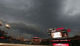 A bolt of lightening strikes down during a delayed start of a baseball game between Washington Nationals and the Miami Marlins at Nationals Park on Tuesday, May 27, 2014, in Washington. (AP Photo/Alex Brandon)