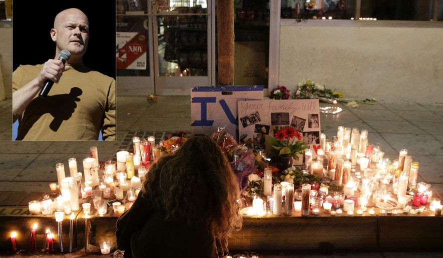 "A woman places a candle in front of IV Deli Mart, where par of Friday night's mass shooting took place by a drive-by shooter, on Saturday, May 24, 2014, in the beach community of Isla Vista, Calif. Sheriff's officials say Elliot Rodger, 22, went on a rampage near the University of California, Santa Barbara, stabbing three people to death at his apartment before shooting and killing three more in a crime spree through a nearby neighborhood. (AP Photo/Jae C. Hong) Photo Illustration with Samuel ""Joe the Plumber"" Wurzelbacher."