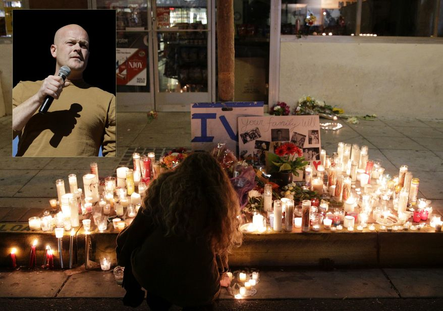 """A woman places a candle in front of IV Deli Mart, where par of Friday night's mass shooting took place by a drive-by shooter, on Saturday, May 24, 2014, in the beach community of Isla Vista, Calif. Sheriff's officials say Elliot Rodger, 22, went on a rampage near the University of California, Santa Barbara, stabbing three people to death at his apartment before shooting and killing three more in a crime spree through a nearby neighborhood. (AP Photo/Jae C. Hong) Photo Illustration with Samuel """"Joe the Plumber"""" Wurzelbacher."""