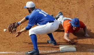 Florida's Harrison Bader beats the throw to Kentucky's A.J. Reed (18) as he dives back to first base during the fifth inning at the Southeastern Conference NCAA college baseball tournament Saturday, May 24, 2014, in Hoover, Ala. (AP Photo/Butch Dill)