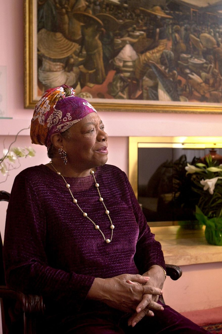 In this March 29, 2002 photo, Maya Angelou speaks at her home in Winston-Salem, N.C. Angelou, a Renaissance woman and cultural pioneer, has died, Wake Forest University said in a statement Wednesday, May 28, 2014. She was 86. (AP Photo/Winston-Salem Journal, David Rolfe)
