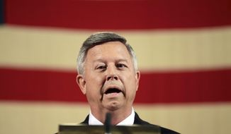 Nebraska Gov. Dave Heineman speaks at a news conference in Omaha, Neb., Wednesday, May 28, 2014. Gov. Heineman announced he had applied for the University of Nebraska presidency, little more than a week after he publicly expressed interest in the job. The presidency came open with the departure of J.B. Milliken, who became chancellor of the City University of New York. (AP Photo/Nati Harnik)