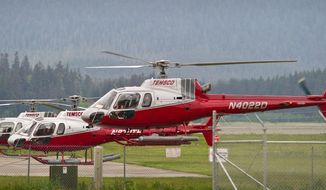 A TEMSCO helicopter lifts off from the Juneau International Airport Tuesday morning, May 27, 2014. Two search parties were dropped off in the Mount Roberts area Tuesday to look for missing hiker Sharon Buis, one on Mount Roberts and the other on Mount Juneau. Buis was reported missing Saturday night. Her car was found at the Mount Roberts trailhead.  (AP Photo/The Juneau Empire, Michael Penn)