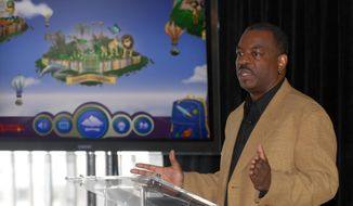 "FILE- This June 19, 2012 file photo shows LeVar Burton introducing the all new Reading Rainbow adventure app to the media, publishers and parents at the ""Reading Rainbow Relaunch"" event in New York.  Burton's campaign to bring ""Reading Rainbow"" to the online masses is off to an impressive start. It reached its fundraising goal within hours of its launch on Wednesday, May 28, 2014, on Kickstarter, according to the fundraising website. (AP Photo/Reading Rainbow, file)"