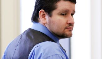 """Seth Mazzaglia looks around the courtroom during the start of his trial in Strafford County Superior Court, Wednesday, May 28, 2014 in Dover, N.H. Authorities say Mazzaglia strangled University of New Hampshire sophomore Elizabeth """"Lizzi"""" Marriott on Oct. 9, 2012, at the Dover apartment he shared with his then-girlfriend, Kathryn McDonough. Mazzaglia has pleaded not guilty in the case.  (AP Photo/Portsmouth Herald, Rich Beauchesne, Pool)"""