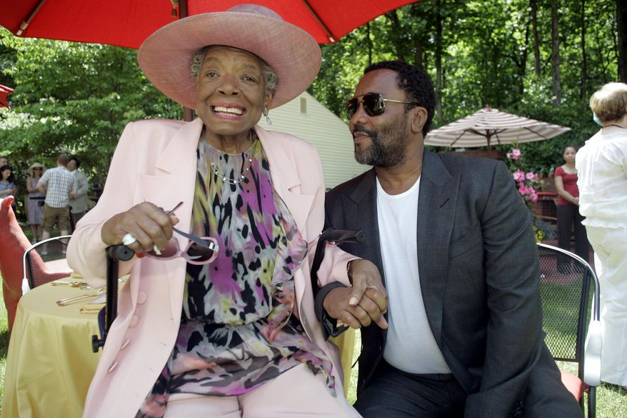 FILE - In this May 20, 2010 file photo, Poet Maya Angelou, left, greets director Lee Daniels at a garden party in honor of Angelou at Angelou's home in Winston-Salem, N.C. Angelou, a Renaissance woman and cultural pioneer, has died, Wake Forest University said in a statement Wednesday, May 28, 2014. She was 86. (AP Photo/Nell Redmond, File)