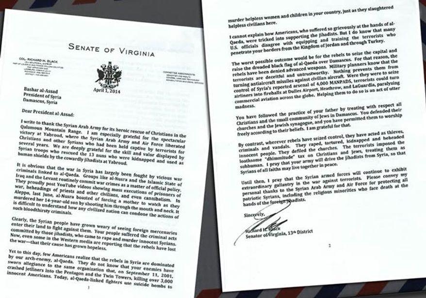 Image of letter from Virginia Sen. Richard H. Black, Loudoun Republican, to Syrian President Bashar al-Assad, taken from Mr. Assad's Facebook page.