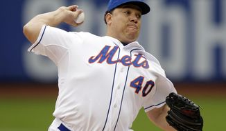 New York Mets' Bartolo Colon delivers a pitch during the first inning of a baseball game against the Pittsburgh Pirates Wednesday, May 28, 2014, in New York. (AP Photo/Frank Franklin II)