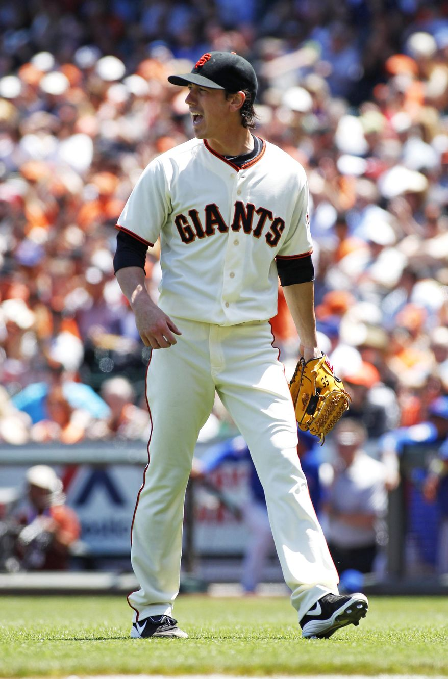 San Francisco pitcher Tim Lincecum reacts after finishing the fifth inning of a  baseball game against the Chicago Cubs, Wednesday, May 28, 2014, in San Francisco. (AP Photo/George Nikitin)