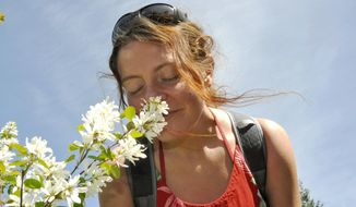 In this May 14, 2014 photo, Pacific Crest Trail self-supported speed record setter Heather Anderson of Bellingham enjoys the scent of blooming serviceberry while hiking near Sandpoint, Idaho. In 2013, Anderson, who goes by the trail name Anish, didn't have time to smell the flowers as she hiked the trail from Mexico to Canada in 60 days, 17 hours and 12 minutes, beating the previous record of 64 days. (AP Photo/The Spokesman-Review, Rich Landers)  COEUR D'ALENE PRESS OUT