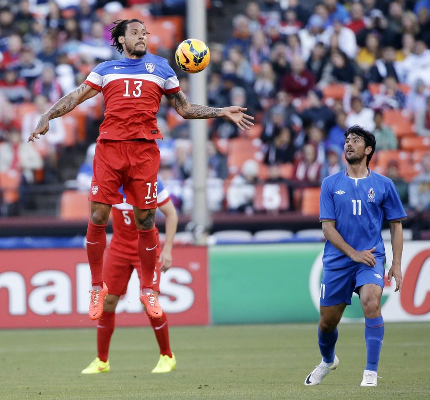 United States' Jermaine Jones (13) controls the ball next to Azerbaijan's Rauf Aliyev (11) during the first half of an international friendly soccer match on Tuesday, May 27, 2014, in San Francisco. (AP Photo/Marcio Jose Sanchez)
