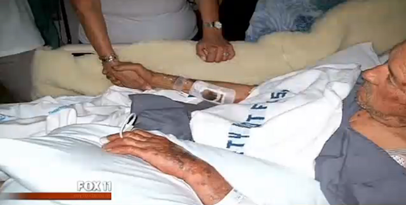 A California widow is suing the federal government after police at a Veteran Affairs hospital allegedly beat her husband, Jonathan Montano (pictured), and stomped on his carotid artery, causing him to have a stroke and die. (My Fox LA)