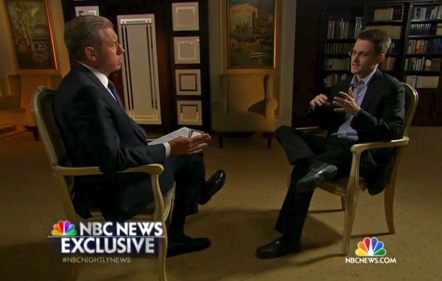 In this image taken from video provided by NBC News on Tuesday, May 27, 2014, Edward Snowden, a former National Security Agency (NSA) contractor, right, speaks to NBC News anchor Brian Williams, left, during an NBC Exclusive interview. Snowden told Williams that he worked undercover and overseas for the CIA and the NSA. (AP Photo/NBC News)
