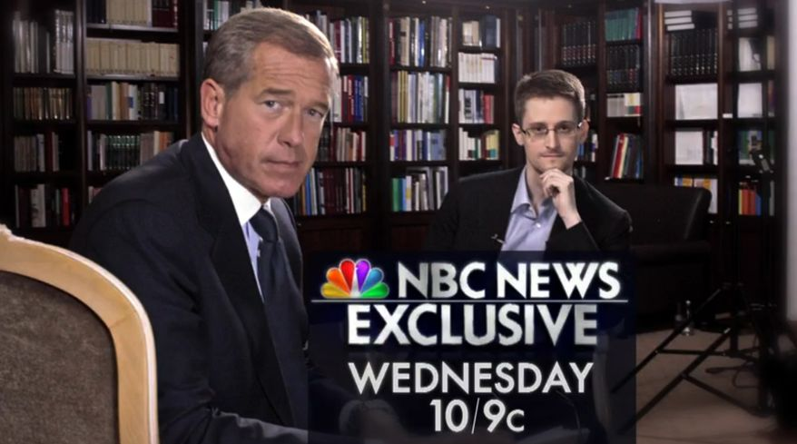 This image taken from video provided by NBC News on Tuesday, May 27, 2014 shows Edward Snowden, right, a former National Security Agency (NSA) contractor and NBC News anchor Brian Williams during an NBC Exclusive interview. Snowden told Williams that he worked undercover and overseas for the CIA and the NSA. (AP Photo/NBC News)
