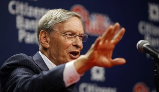 Baseball Commissioner Bud Selig speaks during a news conference before a baseball game between the Philadelphia Phillies and the Colorado Rockies, Wednesday, May 28, 2014, in Philadelphia. (AP Photo/Matt Slocum)
