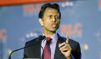 Louisiana Republican Gov. Bobby Jindal addresses the Republican Leadership Conference in New Orleans, La., Thursday, May 29, 2014. (AP Photo/Bill Haber)