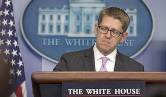 White House press secretary Jay Carney pauses as he speaks during his daily news briefing at the White House in Washington, Thursday, May 29, 2014. Carney discussed the Department of Veterans Affairs and Veterans Affairs Secretary Eric Shinseki and other topics. (AP Photo/Carolyn Kaster)