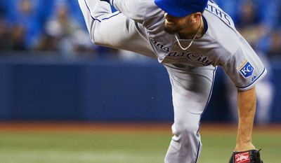 Kansas City Royals starting pitcher James Shields throws against the Toronto Blue Jays during the fourth inning of a baseball game, Thursday May 29, 2014, in Toronto. (AP Photo/The Canadian Press, Fred Thornhill)