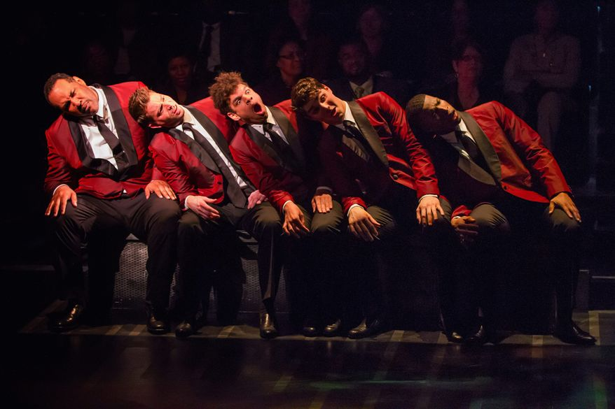 "Stephawn P. Stephens (from left), Levi Kreis, Michael J. Mainwaring, Austin Colby and Jay Adriel perform a song in a scene from ""Smokey Joe's Cafe"" at Arena Stage."