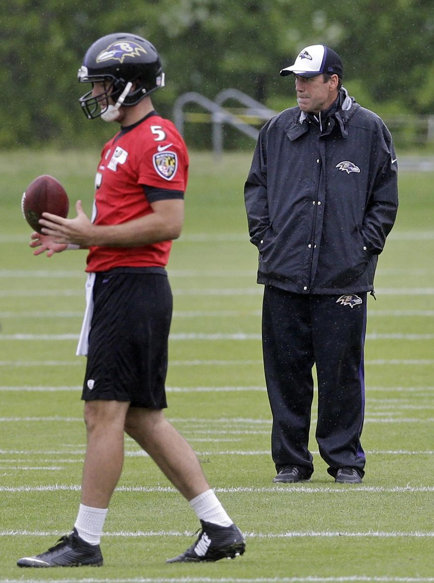 Baltimore Ravens offensive coordinator Gary Kubiak, right, watches as quarterback Joe Flacco walks past during an NFL football organized team activity, Thursday, May 29, 2014, at the team's practice facility in Owings Mills, Md. (AP Photo/Patrick Semansky)