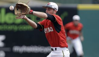Maryland second baseman Brandon Lowe makes a play in the first inning against Georgia Tech during the championship game of the Atlantic Coast Conference baseball tournament in Greensboro, N.C., Sunday, May 25, 2014. Georgia Tech won 9-4. (AP Photo/Bob Leverone)