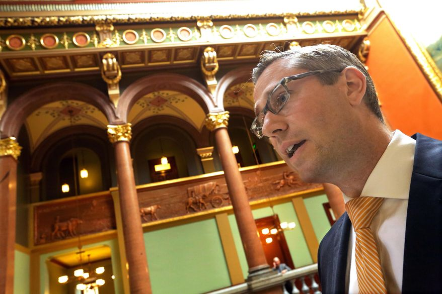 Illinois Sen. Michael Frerichs, D-Champaign, speaks to reporters outside the Senate chambers at the Illinois State Capitol Thursday, May  29, 2014, in Springfield Ill.   (AP Photo/Seth Perlman)