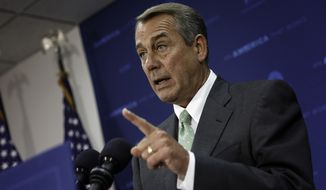 House Speaker John Boehner of Ohio, tells reporters that he isn't quite ready to join other members of Congress who say Veterans Affairs Secretary Eric Shinseki should resign in the wake of problems with the Veterans Affairs troubled health care system,Thursday, May 29, 2014, during a news conference on Capitol Hill in Washington. Boehner said he's reserving judgment about the embattled secretary and that President Barack Obama needs to step up and show leadership on the issue. (AP Photo/J. Scott Applewhite)