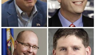 FILE - These undated file photos of leading Republican candidates for Minnesota governor show: Top row, Scott Honour, left and Marty Seifert, right; Bottom row, Dave Thompson, left, and Kurt Zellers, right. Also running is Jeff Johnson, not shown. Minnesota Republicans and Democrats kick off their state conventions Friday. (AP Photos/Jim Mone, Minnesota House, Minnesota Public Radio)