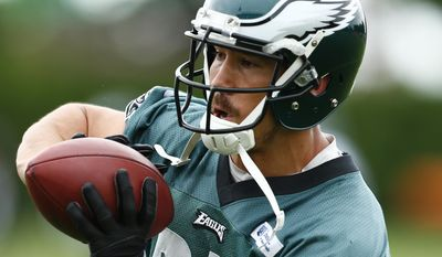 Philadelphia Eagles' James Casey catches a pass during an NFL football organized team activity Thursday, May 29, 2014, in Philadelphia. (AP Photo/Matt Rourke)