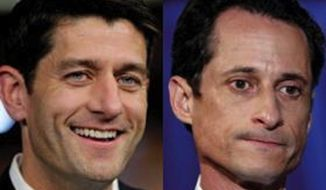 Rep. Paul Ryan joked Wednesday about how Americans keep mistaking him for disgraced politician Anthony Weiner, who then ironically called the comparison insulting. (Associated Press/Carolyn Kaster)