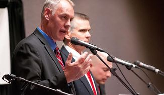 Ryan Zinke answers questions during a debate among candidates for the GOP nomination for U.S. House on Wednesday evening, May 28, 2014, at the Red Lion Hotel in Kalispell. May 28, 2014 in Kalispell, Mont. (Patrick Cote/Daily Inter Lake)