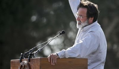 Richard Martinez talks about his son Christopher Michael-Martineza during a memorial service for the victims and families of Friday's rampage at Harder Stadium on the campus of University of California, Santa Barbara on Tuesday, May 27, 2014 in the Isla Vista area near Goleta, Calif. Sheriff's officials said Elliot Rodger, 22, went on a rampage near the University of California, Santa Barbara, stabbing three people to death at his apartment before shooting and killing three more in a crime spree through a nearby neighborhood. (AP Photo/Chris Carlson)
