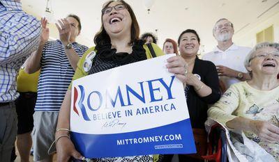 Emma Nemecek, of Mt. Vernon, Iowa, listens as former Republican presidential nominee Mitt Romney speaks during a rally for Iowa Republican Senate candidate Joni Ernst, Friday, May 30, 2014, in Cedar Rapids, Iowa. (AP Photo/Charlie Neibergall)